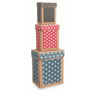 3 stacked rectangle scalloped tall boxes