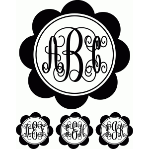 monogram script 2 flower circle