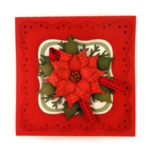 poinsettia doily frame card