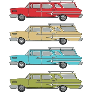auto retro station wagon print and cut