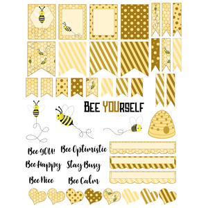 bee-themed planner stickers