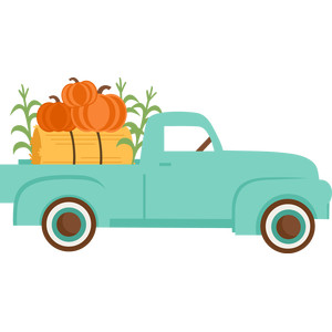 fall truck with pumpkins