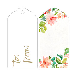 watercolor flowers christmas gift tag