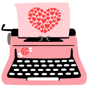typewriter with hearts