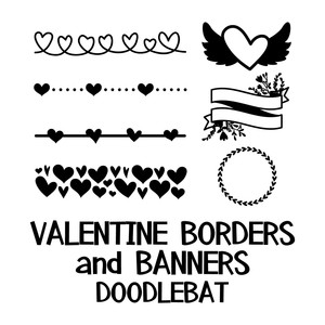 valentines border and banners doodlebat