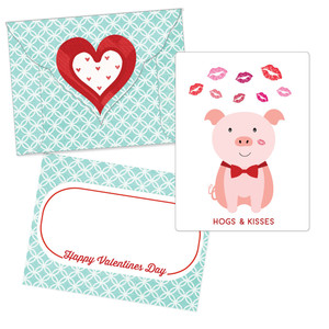 valentine card - hogs and kisses