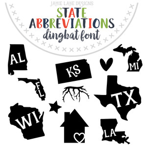 state abbreviations dingbats