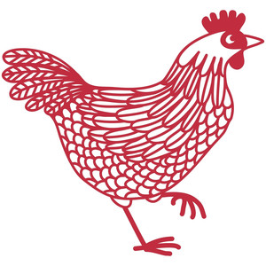 chicken hen papercut