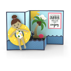 pop up box card swimming girl
