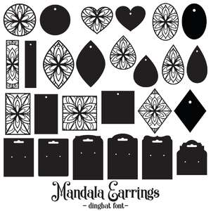 mandala earrings dingbat font