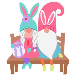 easter gnomes on a bench