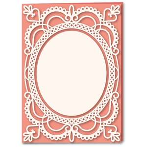 oval lace frame panel 5x7 card