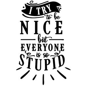 try be nice everyone stupid