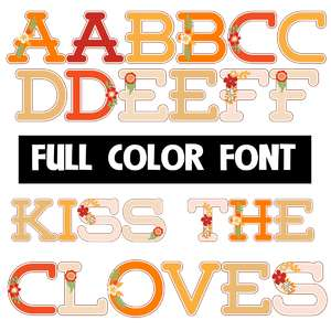 kiss the cloves color font