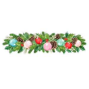 fir and holly christmas border with ornaments