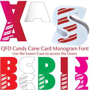 qfd candy cane card monogram font