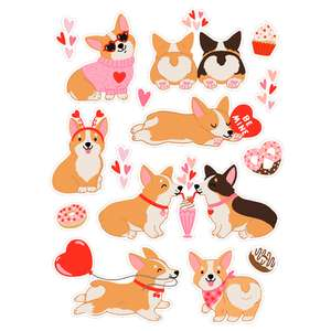 corgi valentine's day stickers