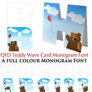 qfd teddy wave monogram card colour font
