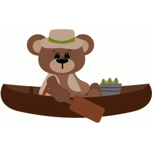 fishing bear in a canoe