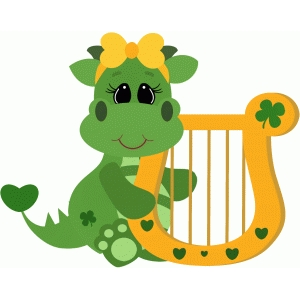 st patricks dragon w harp girl