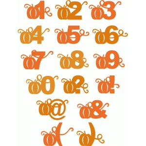 pumpkin block alphabet - numbers punctuation