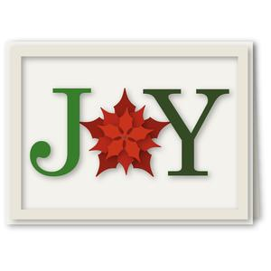 joy letters a6 card with poinsettia