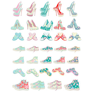 flowered shoe stickers