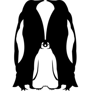 couple of penguins with penguin silhouette