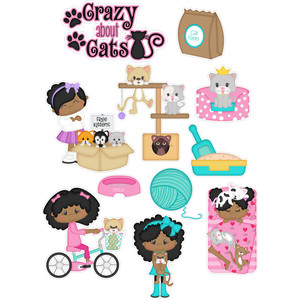 crazy about cats girl stickers