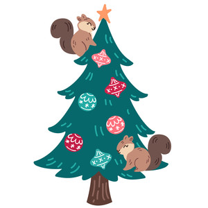 christmas tree with squirrels