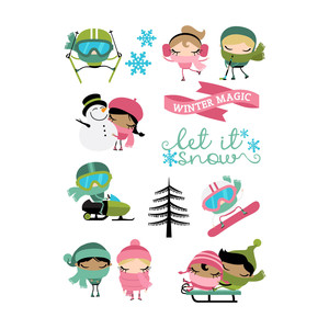 winter cuties stickers