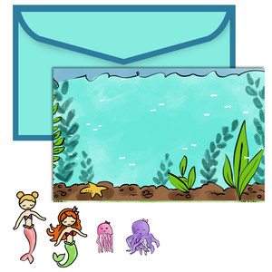paper doll scene set - mermaids