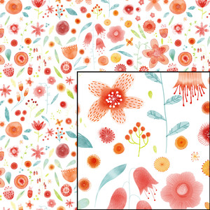 watercolor blooms pattern