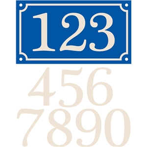 french house sign, triple numbers