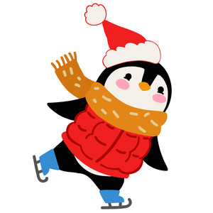 penguin skating with santa hat