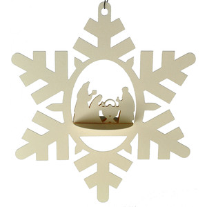 wise men nativity snowflake 3d oval hanging ornament