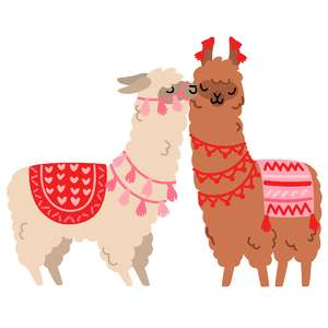 valentine's day kissing llamas