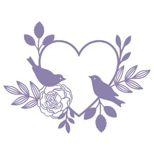 love birds in floral heart frame
