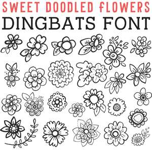 cg sweet doodled flowers dingbats