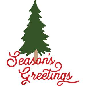 season's greetings and pine tree