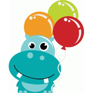 hippo holding balloons