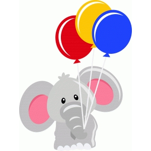 cute elephant with balloons