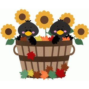 crows sitting in fall basket