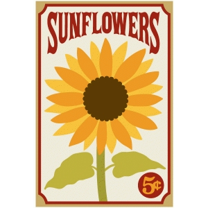 sunflowers word art