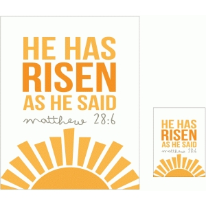 he has risen print and cut quote card