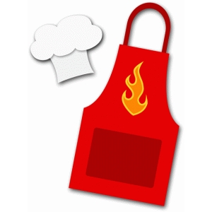 grilling apron with chef hat