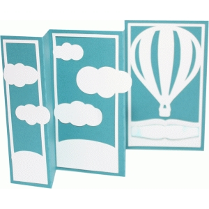 accordion fold card - hot air balloon