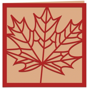 autumn leaf papercut greetings card
