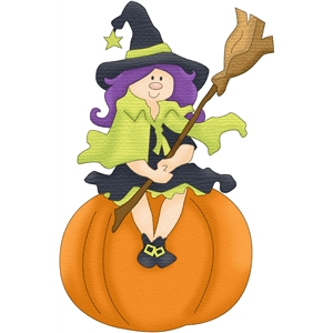 witch sitting on pumpkin