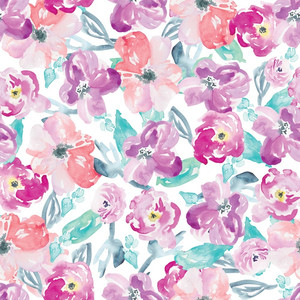 purple watercolor flower pattern